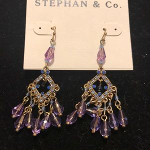 Purple blue hanging earrings